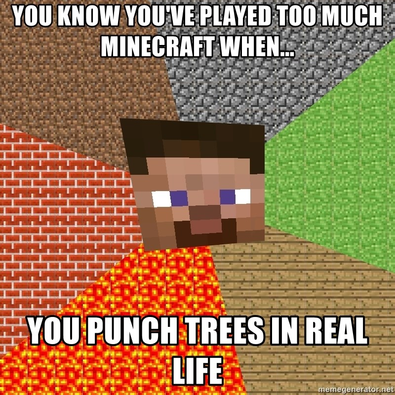 Minecraft Guy - You know you've played too much minecraft when... you punch trees in real life