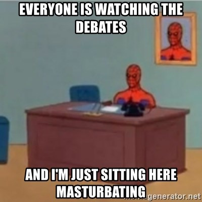 60s spiderman behind desk - Everyone is watching the debates and i'm just sitting here masturbating