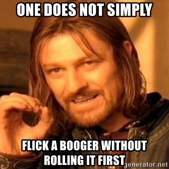 One Does Not Simply - One does not simply flick a booger without rolling it first