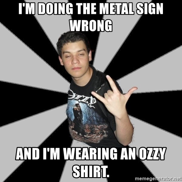 Metal Boy From Hell - I'm doing the metal sign wrong and i'm wearing an ozzy shirt.