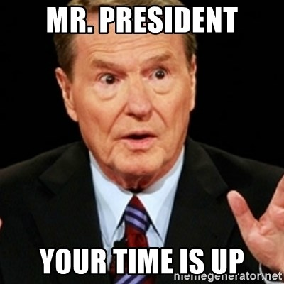 Jim Lehrer 1 - MR. PRESIDENT your time is up