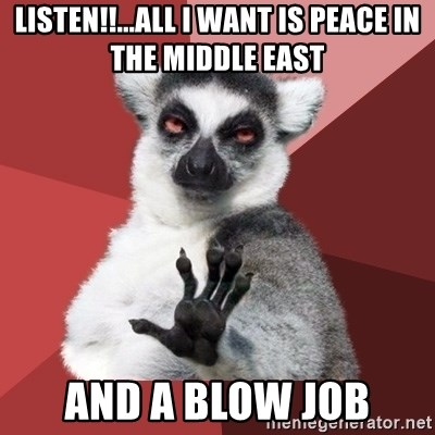 Chill Out Lemur - listen!!...all i want is peace in the middle east and a blow job