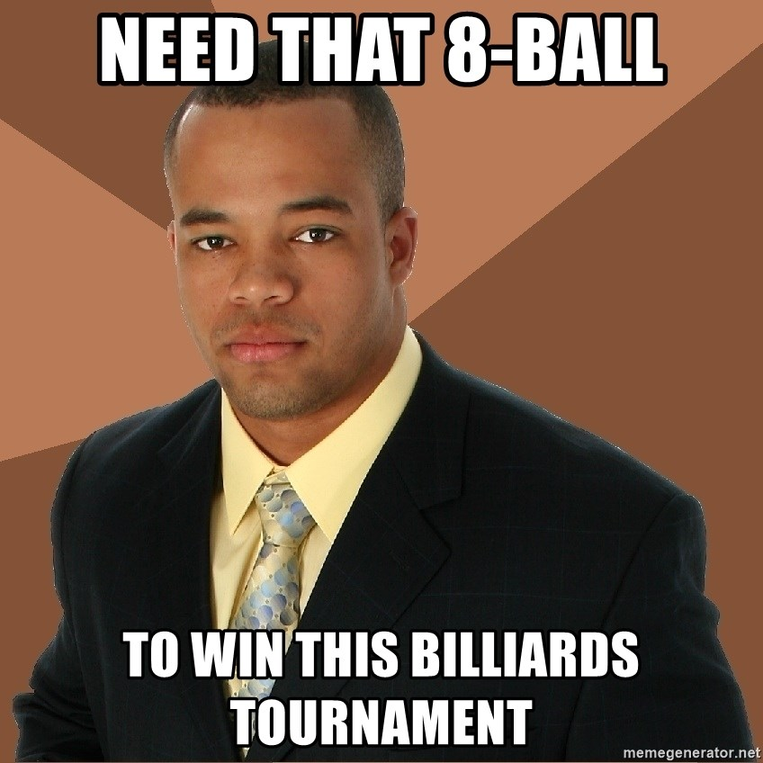 Successful Black Man - need that 8-ball to win this billiards tournament