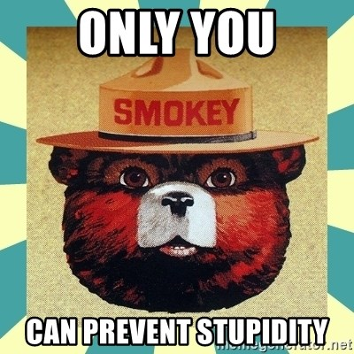 Smokey the Bear - ONLY YOU CAN PREVENT STUPIDITY