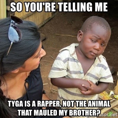 Skeptical 3rd World Kid - So you're telling me tyga is a rapper, not the animal that mauled my brother?