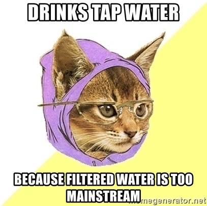 Hipster Kitty - drinks tap water because filtered water is too mainstream