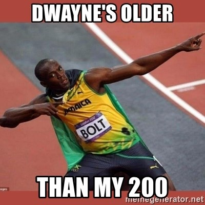 USAIN BOLT POINTING - dwayne's older than my 200