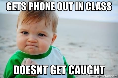 fist pump baby - gets phone out in class doesnt get caught