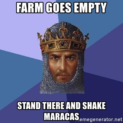 Age Of Empires - Farm goes empty stand there and shake maracas