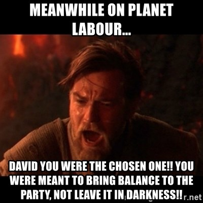 You were the chosen one  - meanwhile on planet labour... DAVID you were the chosen one!! you were meant to bring balance to the party, not leave it in darkness!!