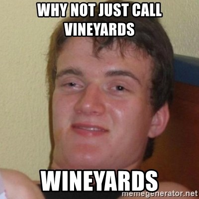 Really Stoned Guy - why not just call vineyards wineyards