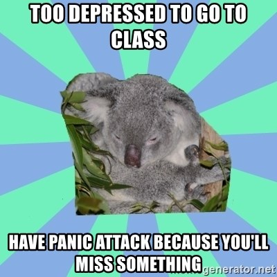 Clinically Depressed Koala - Too depressed to go to class have panic attack because you'll miss something