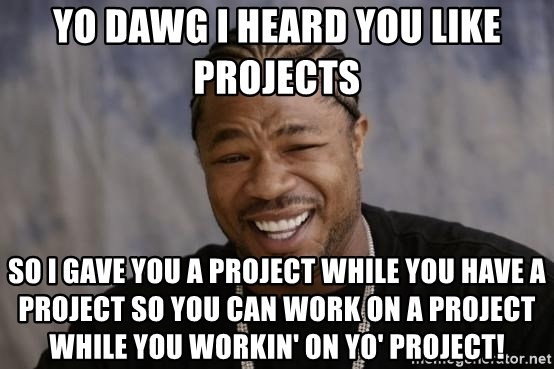 xzibit-yo-dawg - Yo dawg i heard you like projects so i gave you a project while you have a project so you can work on a project while you workin' on yo' project!