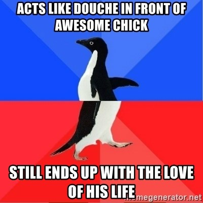 Socially Awkward to Awesome Penguin - Acts like douche in front of awesome chick still ends up with the love of his life