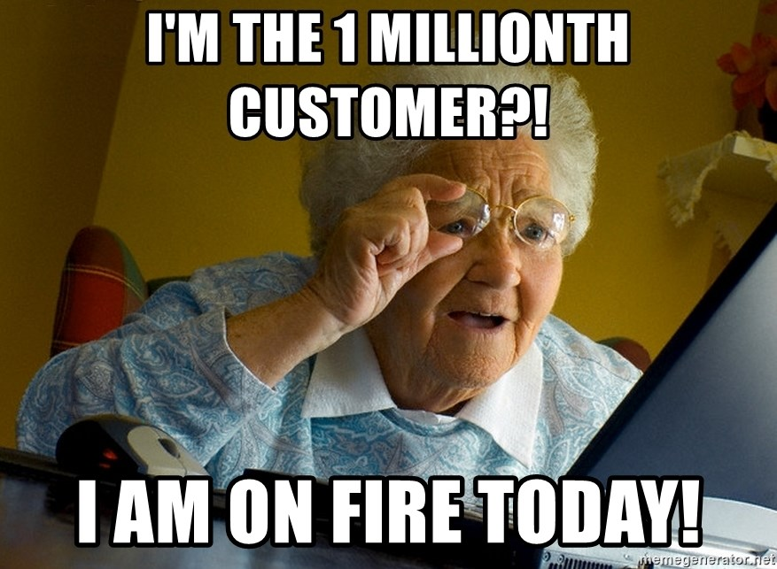Internet Grandma Surprise - I'm the 1 millionth cusTomer?! I am on fire today!