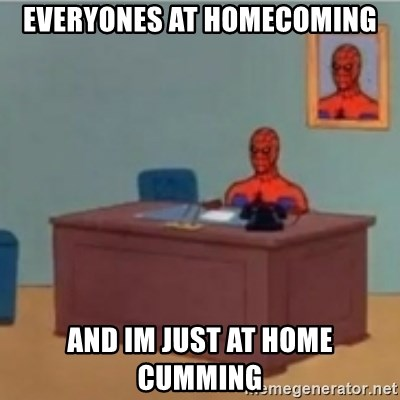 60s spiderman behind desk - everyones at homecoming and im just at home cumming