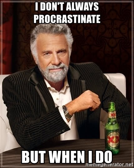 The Most Interesting Man In The World - I don't always procrastinate but when i do