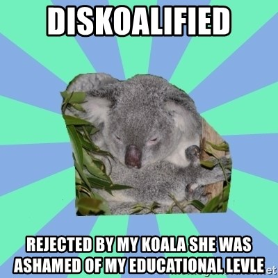 Clinically Depressed Koala - Diskoalified rejected by my koala she was ASHAMED of my educational levle