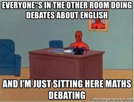 Spiderman Desk - everyone''s in the other room doing debates about english and i'm just sitting here maths debating