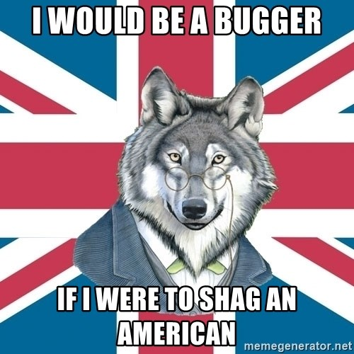 Sir Courage Wolf Esquire - i would be a bugger if i were to shag an american