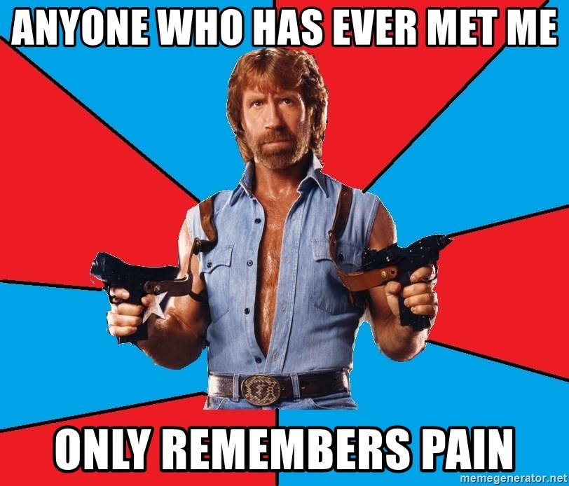 Chuck Norris  - anyone who has ever met me only remembers pain