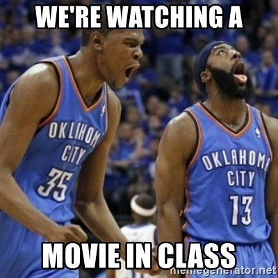 Kd & James Harden - we're watching a movie in class