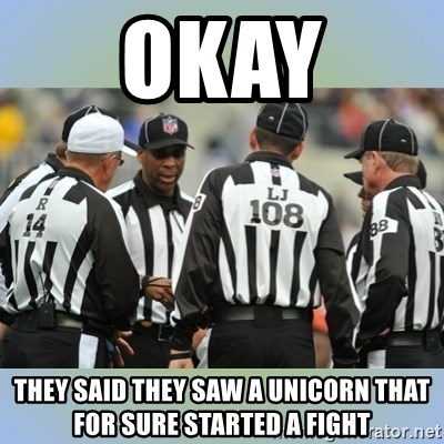NFL Ref Meeting - OKAY THEY SAID THEY SAW A UNICORN THAT FOR SURE STARTED A FIGHT