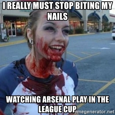 Scary Nympho - i really must stop biting my nails watching arsenal play in the league cup
