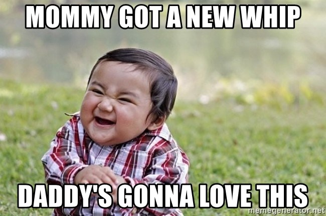 evil asian plotting baby - mommy got a new whip daddy's gonna love this