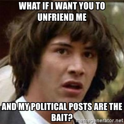 29457536 what if i want you to unfriend me and my political posts are the,Political Posts Meme