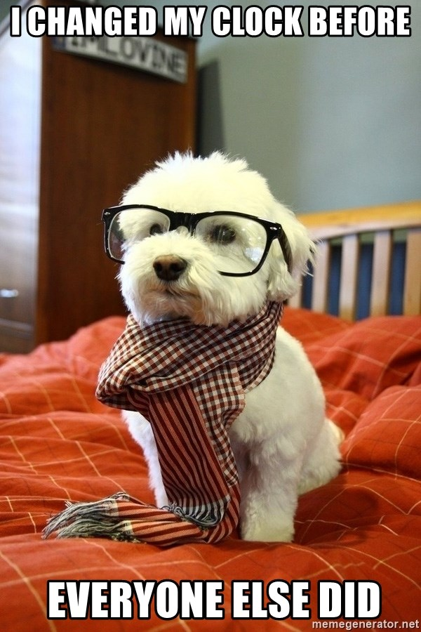 hipster dog - I changed My clock before  everyone else did