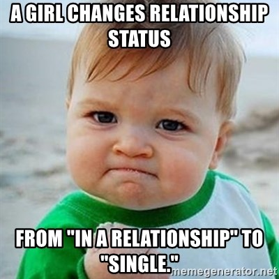 """Victory Baby - A girl changes relationship status  From """"in a reLationship"""" to """"single."""""""