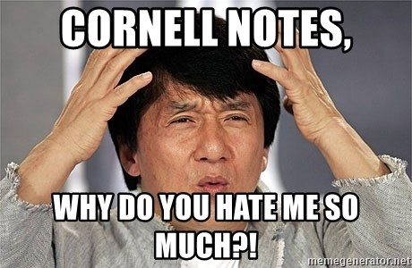 Jackie Chan - cornell notes, why do you hate me so much?!