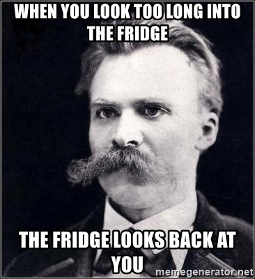Nietzsche - When you look too long into the fridge the fridge looks back at you