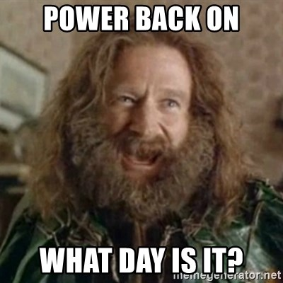 What Year - power back on What Day is it?