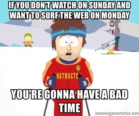 South Park Ski Teacher - If you don't watch on sunday and want to surf the web on monday you're gonna have a bad time