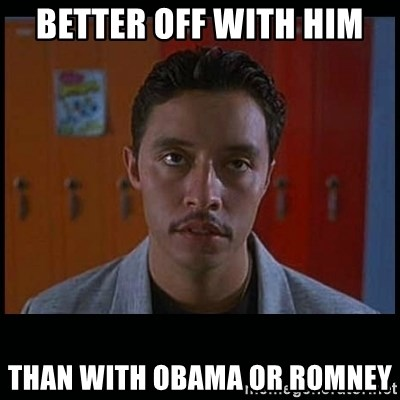 Vote for pedro - Better off with him than with obama or romney