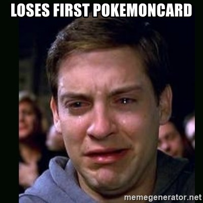crying peter parker - loses first pokemoncard