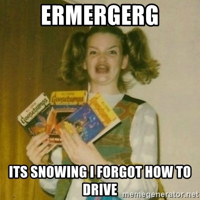 oh mer gerd - ERMERGERG ITS SNOWING I FORGOT HOW TO DRIVE