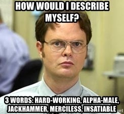 Dwight Shrute - how would i describe myself?  3 words: hard-working, alpha-male, jackhammer, merciless, insatiable