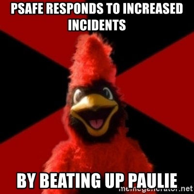 Wesleyan Cardinal - psafe responds to increased incidents by beating up paulie