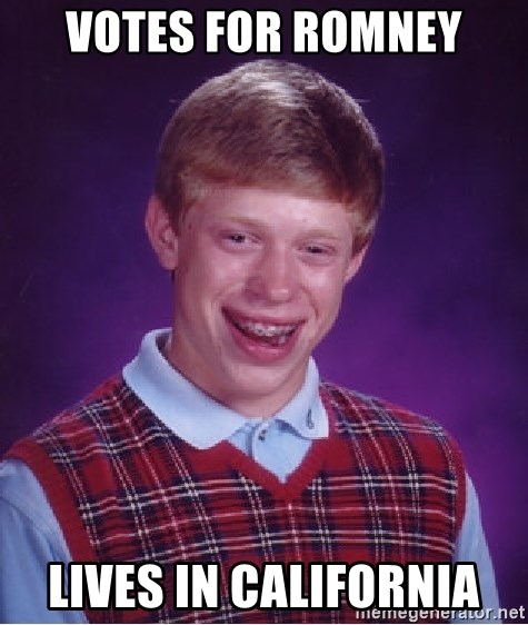 Bad Luck Brian - votes for romney lives in california
