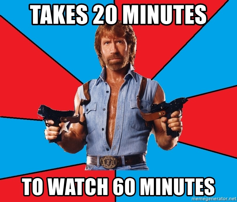 Chuck Norris  - Takes 20 minutes To watch 60 minutes
