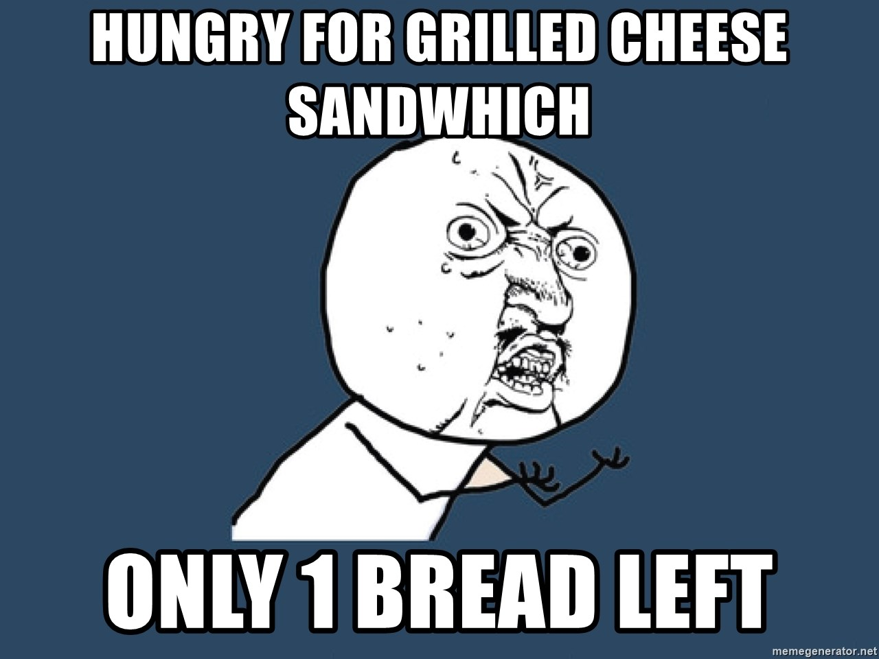 Y U No - hungry for grilled cheese sandwhich only 1 bread left