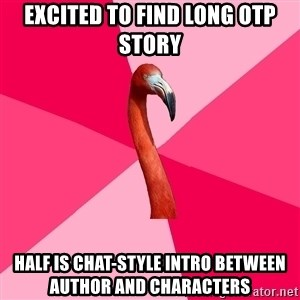Fanfic Flamingo - excited to find long otp story half is chat-style intro between author and characters