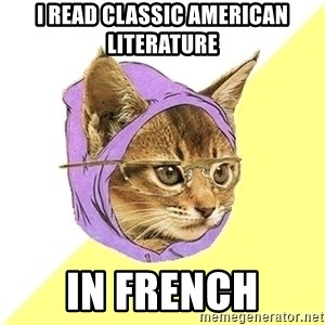 Hipster Kitty - i Read CLASSic american literature in FRENCH