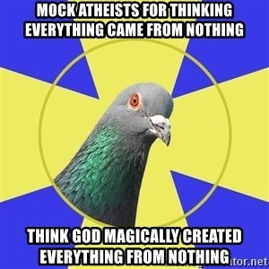 Religion Pigeon - mock atheists for thinking everything came from nothing think god magically created everything from nothing