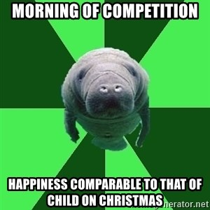 Marching Band Manatee - morning of competition happiness COMPARABLE to that of child on christmas