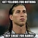 """Sergio Ramos 4  - Get yellows for nothing """"they cheat for ramos"""""""