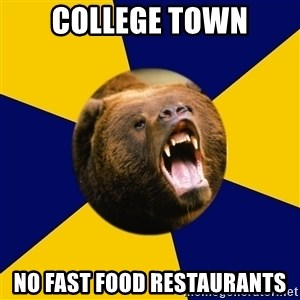 Berkeley Student Bear - College Town No fast food restaurants